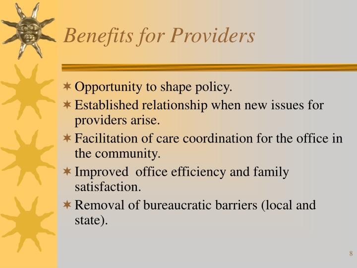 Benefits for Providers