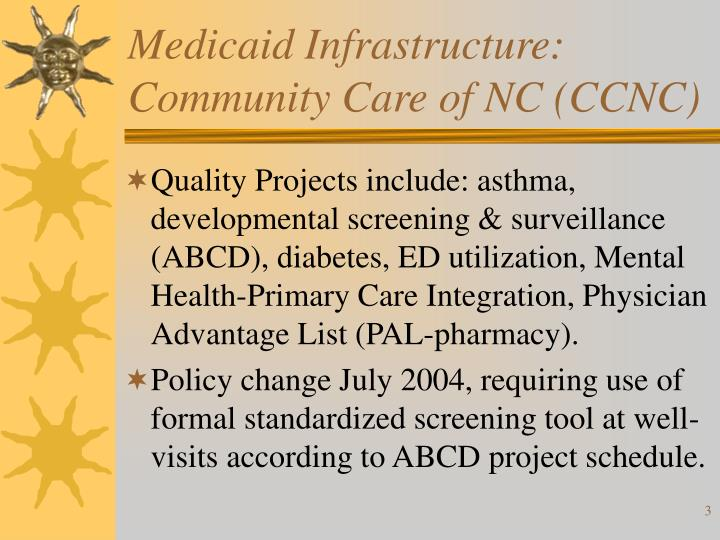 Medicaid infrastructure community care of nc ccnc1