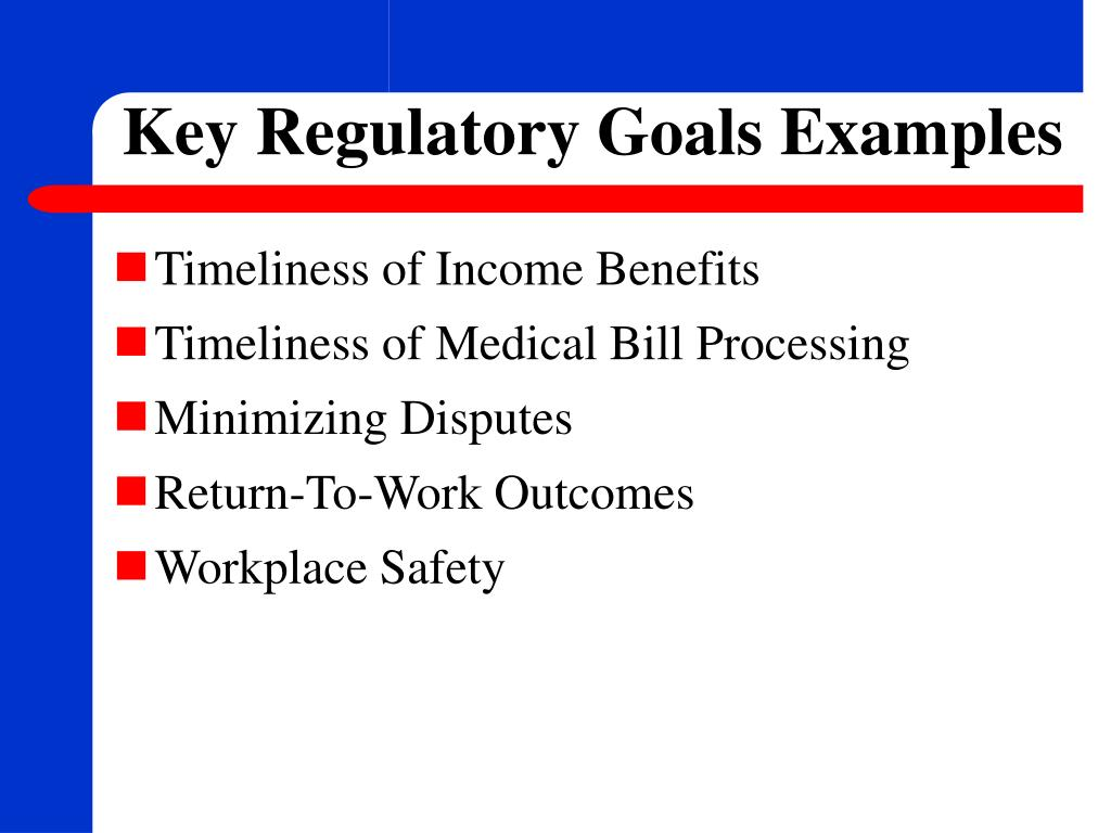 Key Regulatory Goals Examples