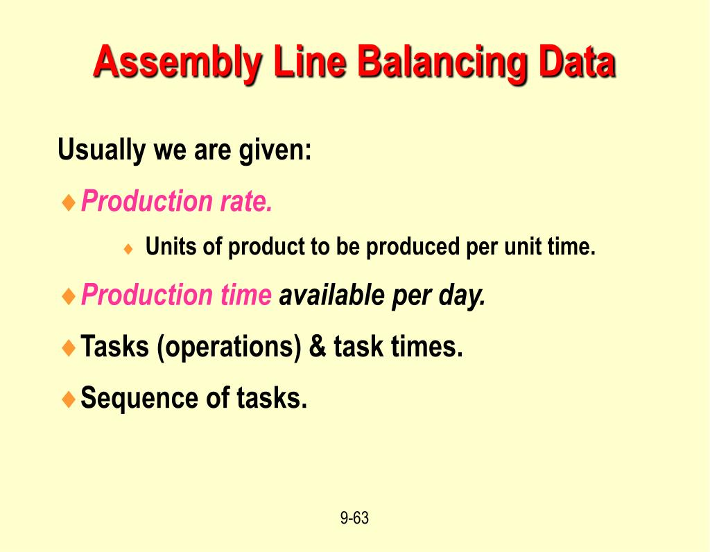 Assembly Line Balancing Data