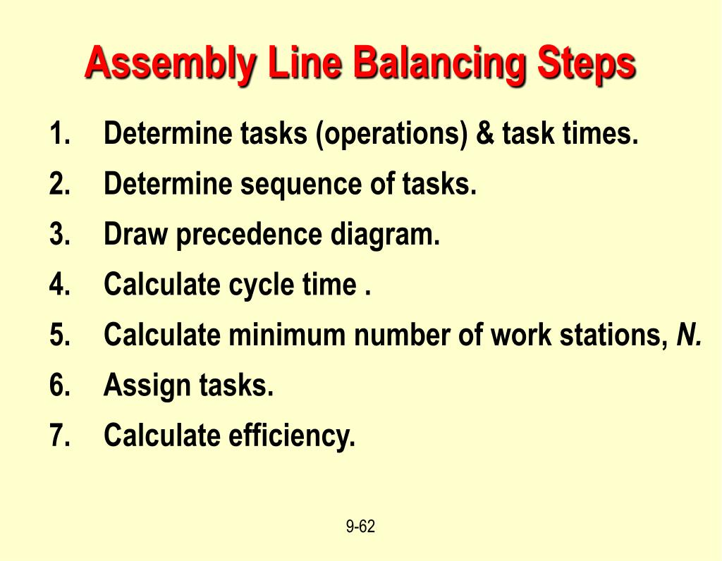 Assembly Line Balancing Steps
