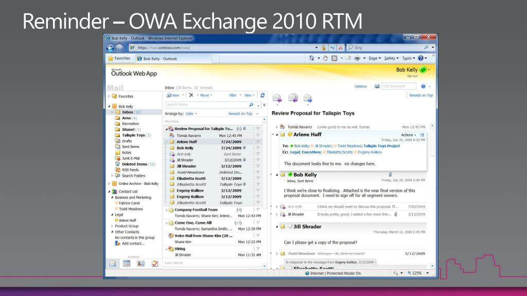 Reminder – OWA Exchange 2010 RTM