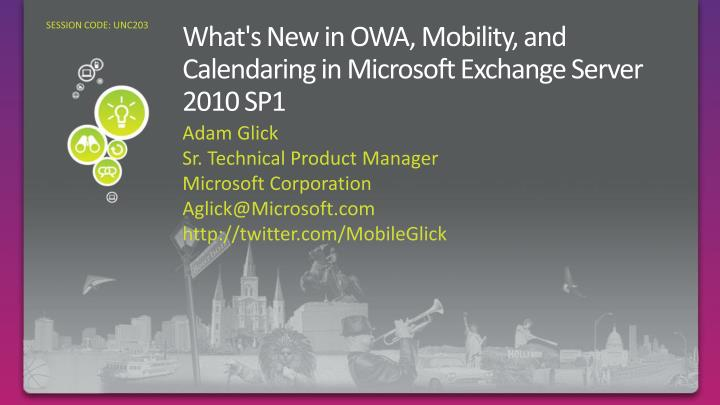 What s new in owa mobility and calendaring in microsoft exchange server 2010 sp1
