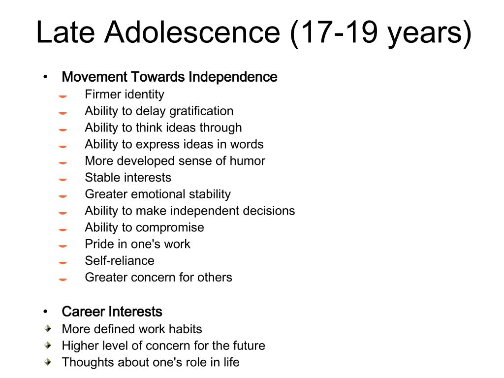 Late Adolescence (17-19 years)