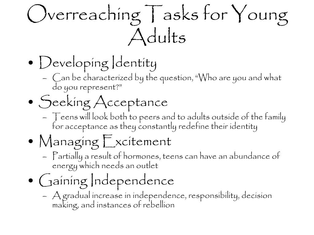 Overreaching Tasks for Young Adults