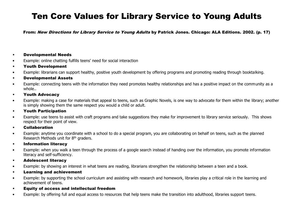 Ten Core Values for Library Service to Young Adults