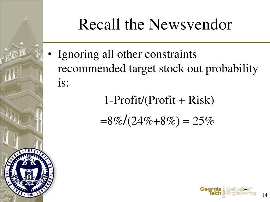 Recall the Newsvendor