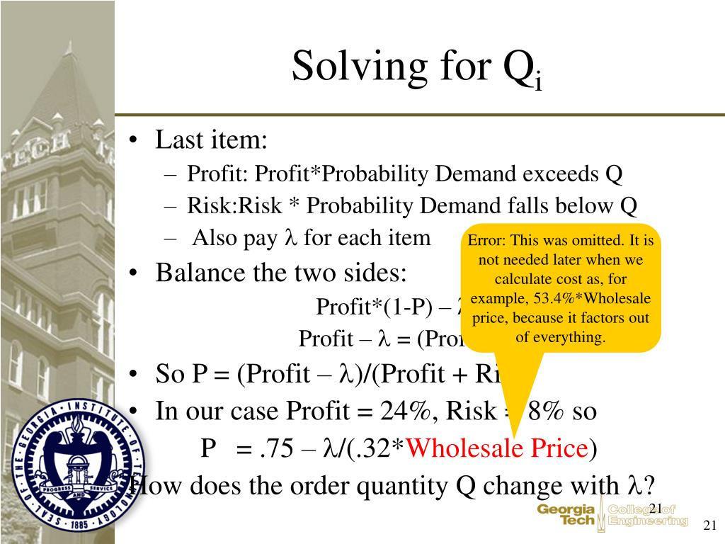 Solving for Q