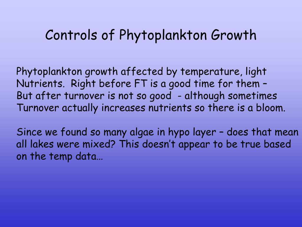 Controls of Phytoplankton Growth