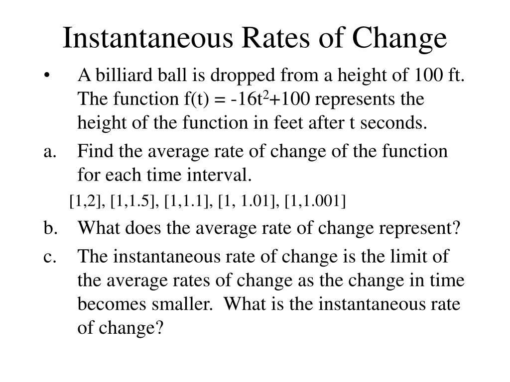 calculus project on slope rates of change and instantaneous