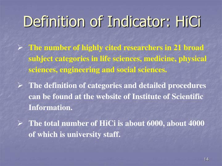 Definition of Indicator: HiCi