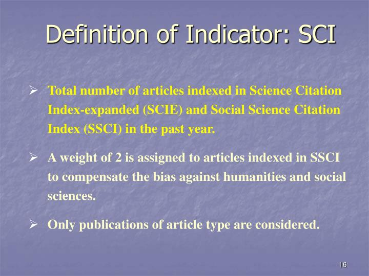 Definition of Indicator: SCI
