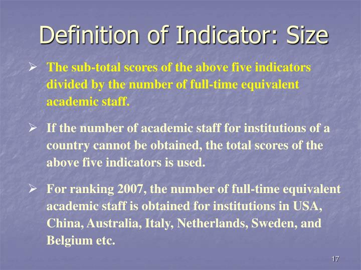 Definition of Indicator: Size