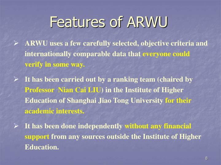 Features of ARWU