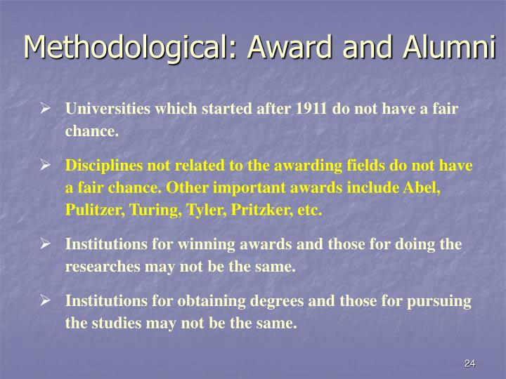 Methodological: Award and Alumni