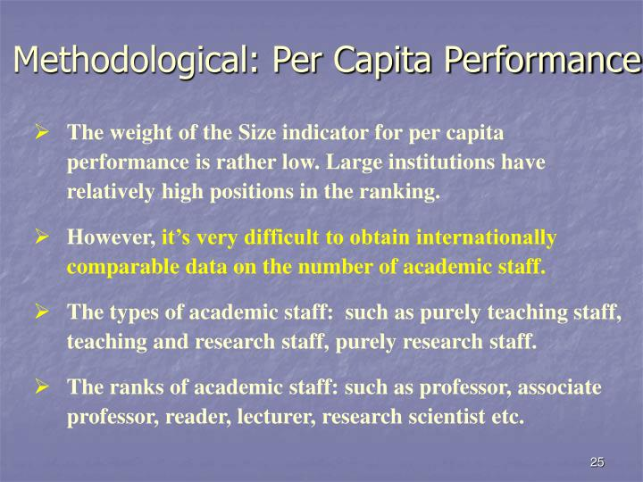 Methodological: Per Capita Performance