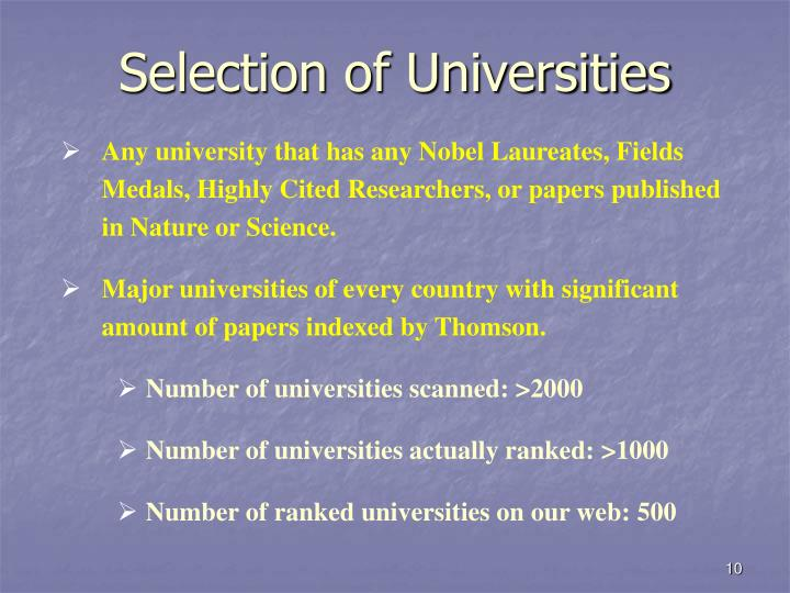 Selection of Universities