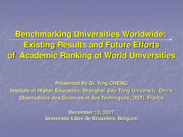 Benchmarking Universities Worldwide: