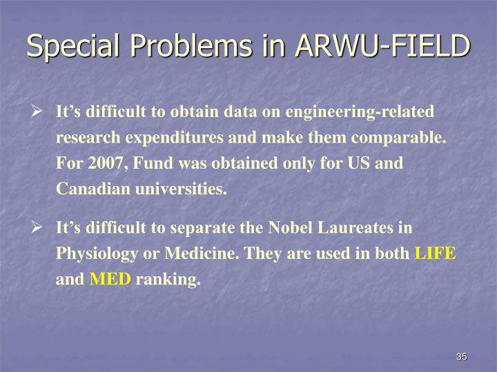 Special Problems in ARWU-FIELD