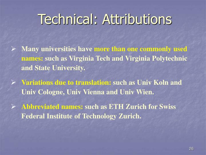 Technical: Attributions