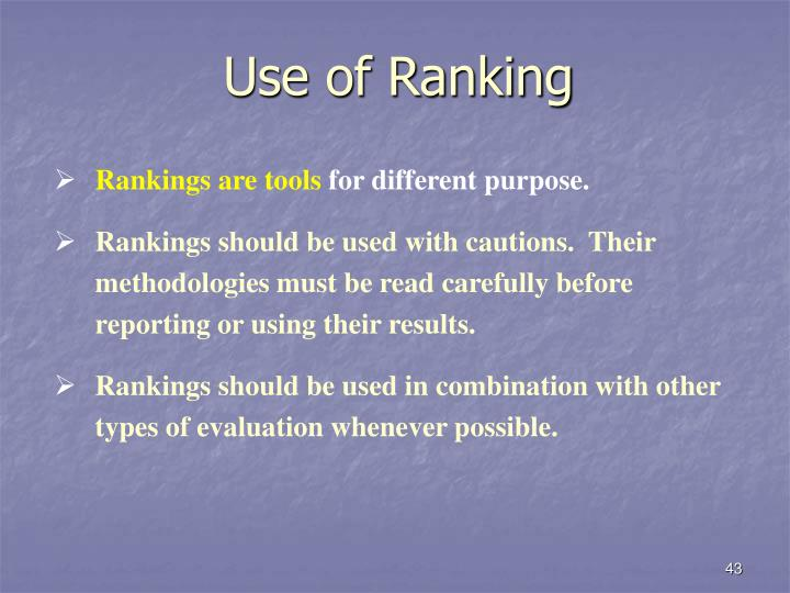 Use of Ranking