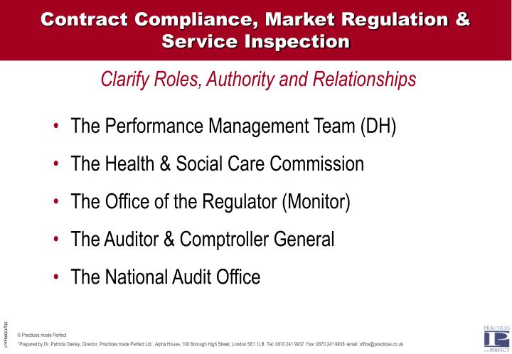 Contract Compliance, Market Regulation &