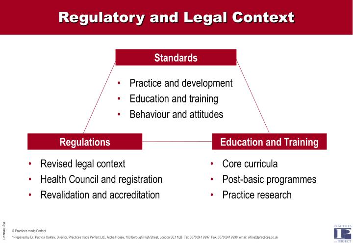 Regulatory and Legal Context