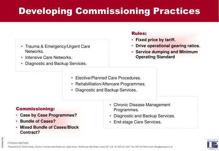 Developing Commissioning Practices
