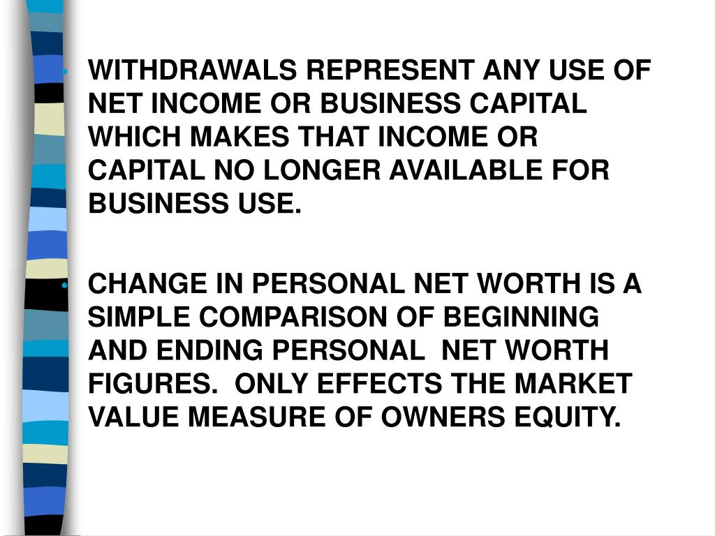 WITHDRAWALS REPRESENT ANY USE OF NET INCOME OR BUSINESS CAPITAL WHICH MAKES THAT INCOME OR CAPITAL NO LONGER AVAILABLE FOR BUSINESS USE.