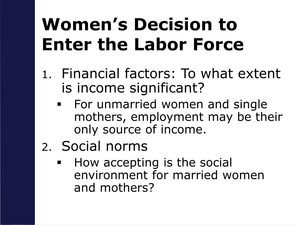 the women labor force and its Figures show a drop in the labor force participation by women there are some potential explanations, but the wider question of participation by men and women of all ages could become a problem.