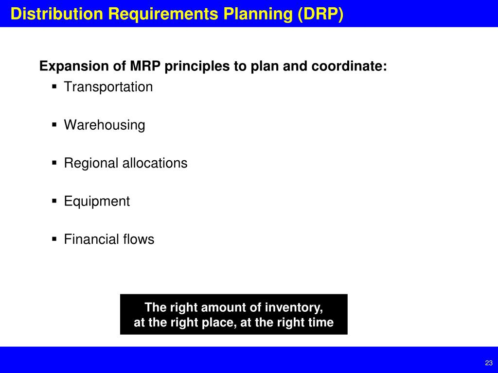 Expansion of MRP principles to plan and coordinate: