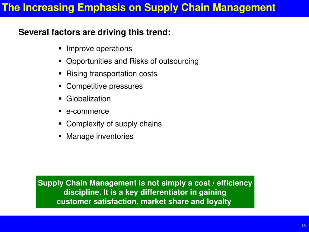 The Increasing Emphasis on Supply Chain Management