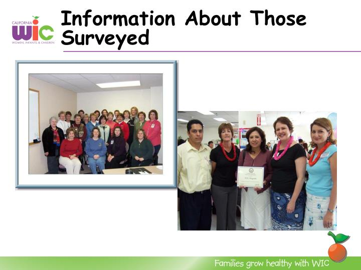 Information About Those Surveyed