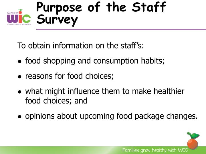 Purpose of the staff survey