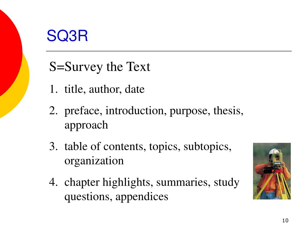 sq3r reading approach thesis The sq3r study reading system the sq3r study reading system is an organized approach to your textbook learning students who use a study system read with.