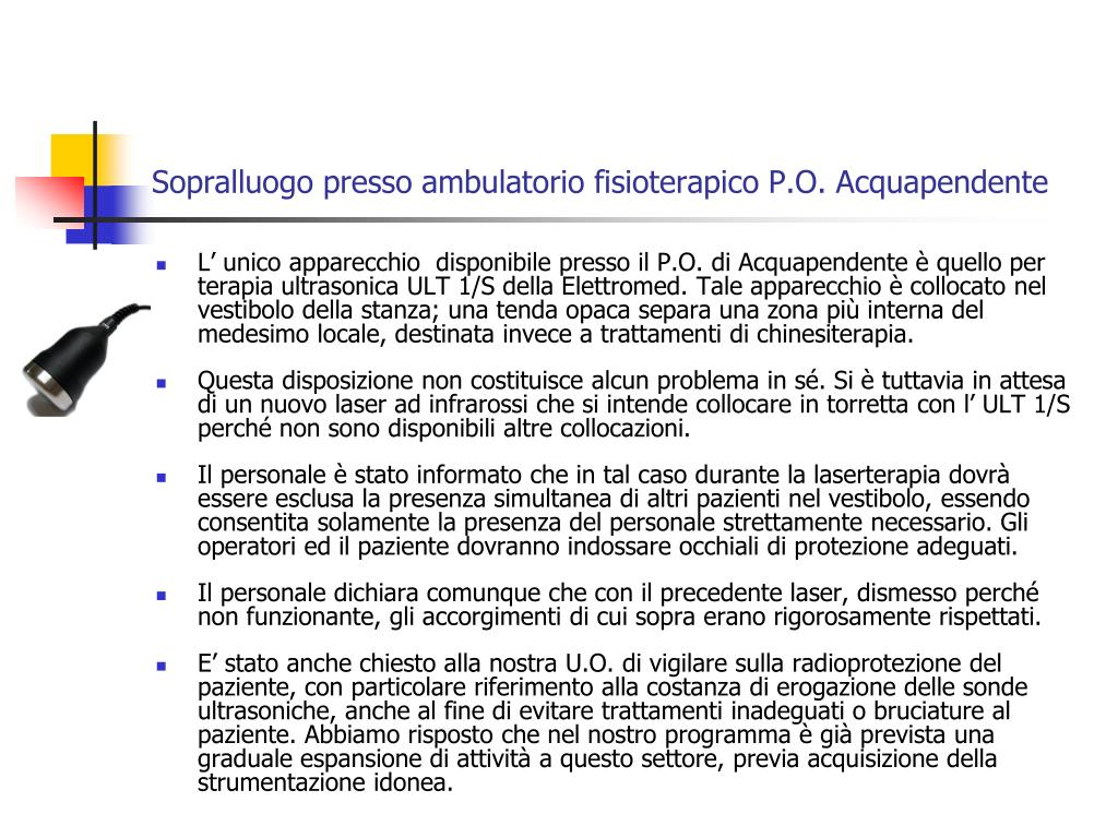 Sopralluogo presso ambulatorio fisioterapico P.O. Acquapendente