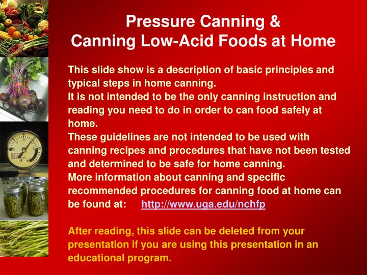 Pressure canning canning low acid foods at home