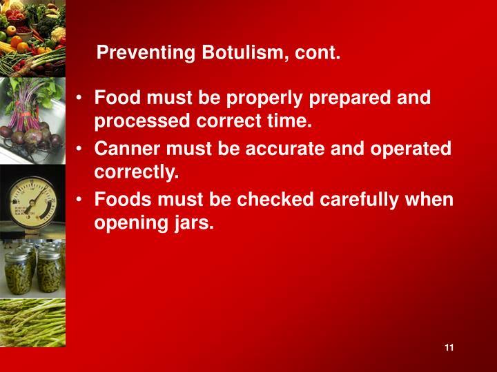 Preventing Botulism, cont.
