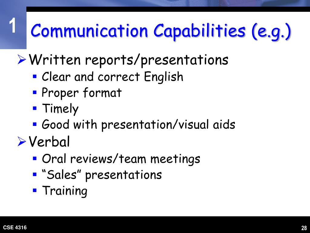 Communication Capabilities (e.g.)