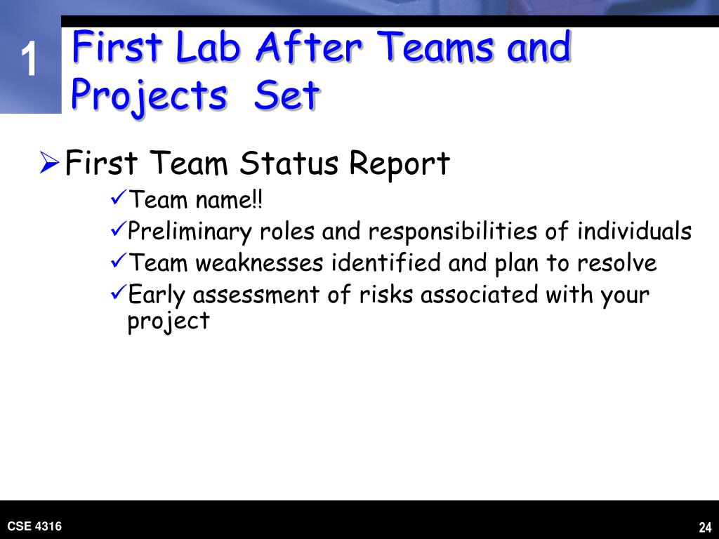 First Lab After Teams and Projects  Set