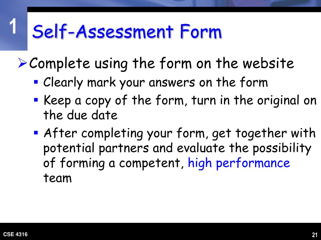 Self-Assessment Form