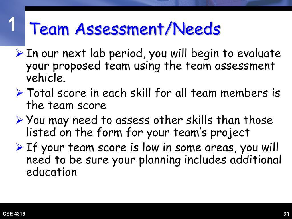 Team Assessment/Needs