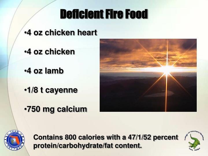 Deficient Fire Food