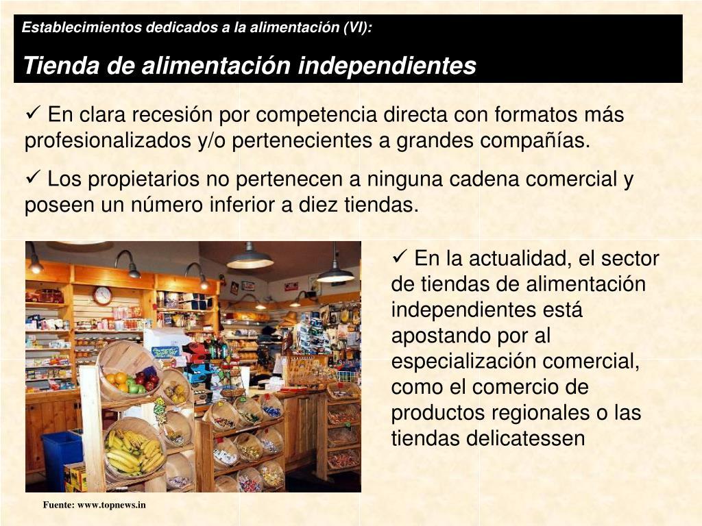 Establecimientos dedicados a la alimentación (VI):