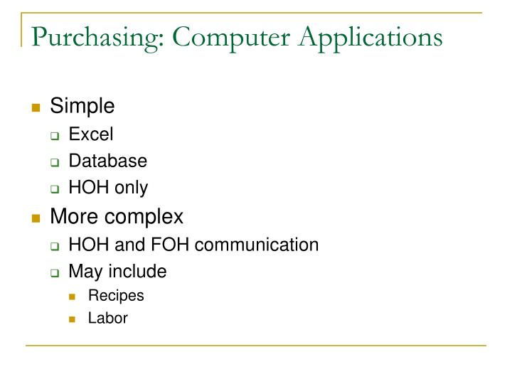 Purchasing: Computer Applications