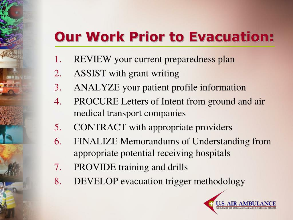 Our Work Prior to Evacuation: