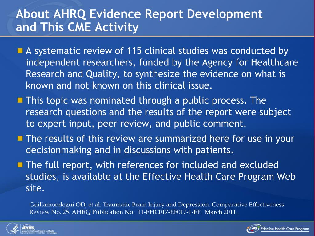 About AHRQ Evidence Report Development