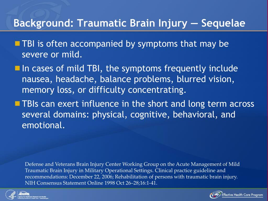 Background: Traumatic Brain Injury — Sequelae