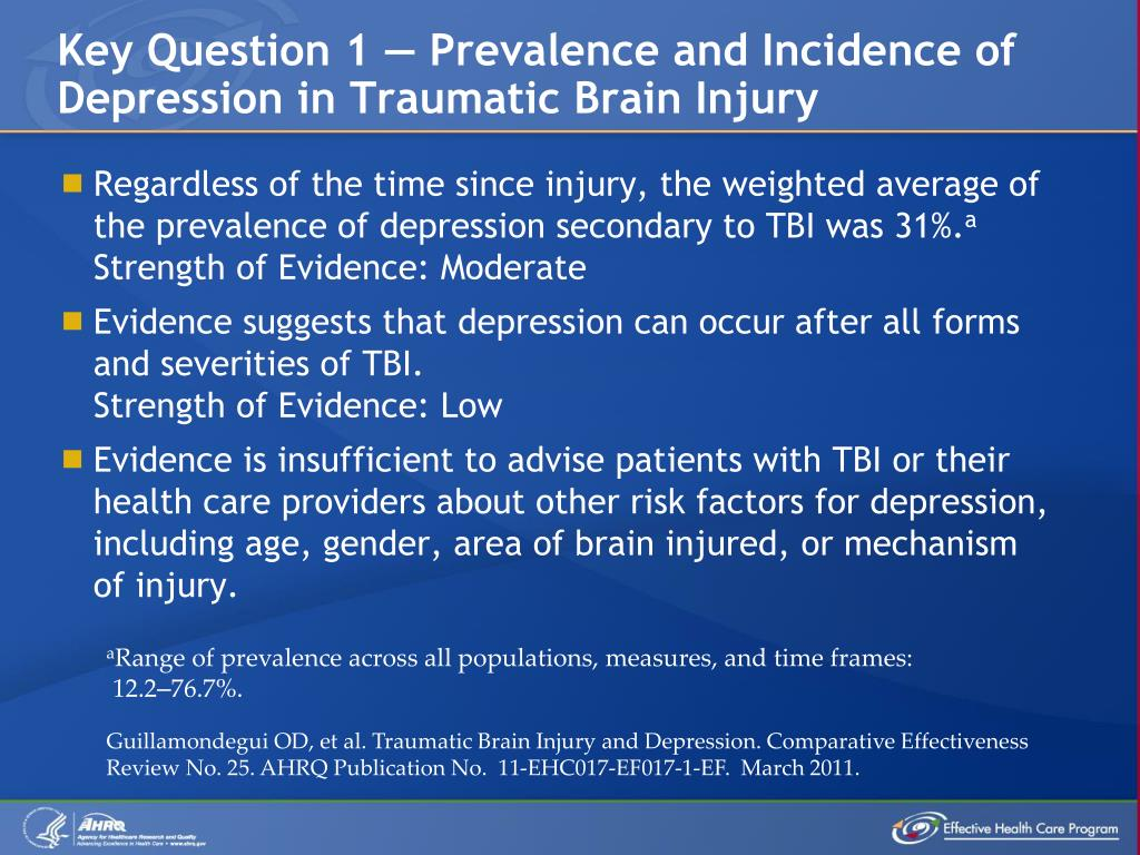 Key Question 1 — Prevalence and Incidence of Depression in Traumatic Brain Injury