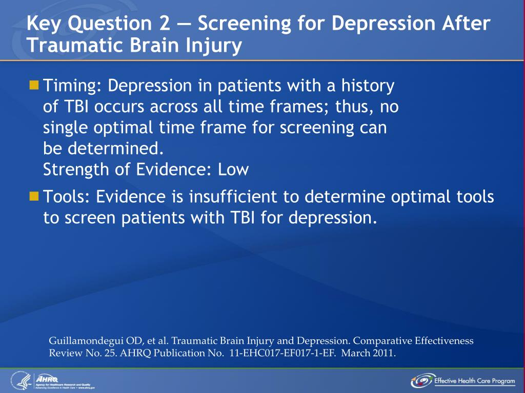 Key Question 2 — Screening for Depression After Traumatic Brain Injury